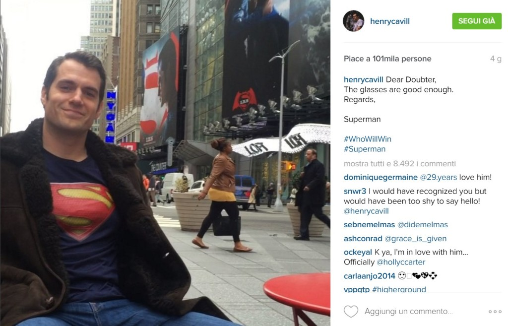 henry cavill instagram superman times square