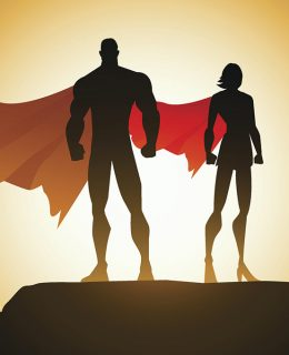 A vector illustration of a superhero couple standing on silhouette valley background. AICS5 file included.